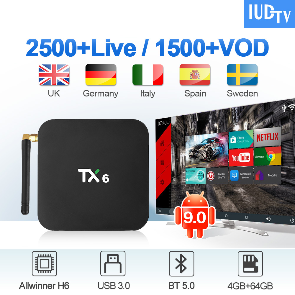 TX6 IUDTV IPTV Sweden Subscription Box Android 9.0 4G 64G BT5.0 2.4G/5G Wifi with IPTV Portugal UK Italy Arabic Spain IP TV     TX6 IUDTV IPTV Sweden Subscription Box Android 9.0 4G 64G BT5.0 2.4G/5G Wifi with IPTV Portugal UK Italy Arabic Spain IP TV