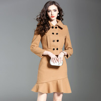 Brand Fashion Runway Women S Set 2017 New Autumn Winter Long Sleeve Woolen Jackets And Skirt