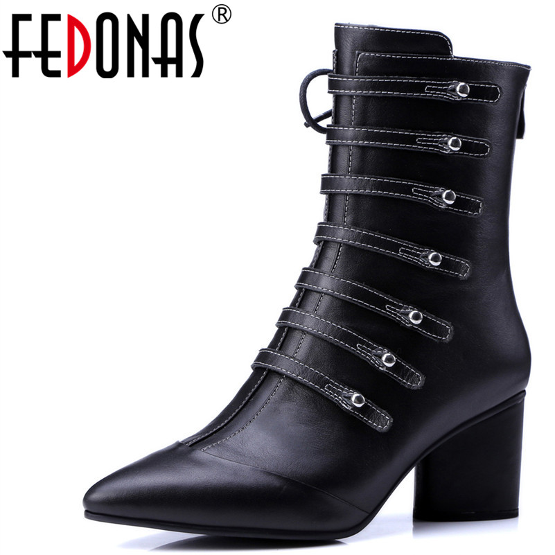 FEDONAS Fashion Women Mid-Calf Boots Genuine Leather Autumn Winter Warm High Heels Shoes Woman Buckles Decoration Martin Boots trendy women s mid calf boots with splicing and buckles design