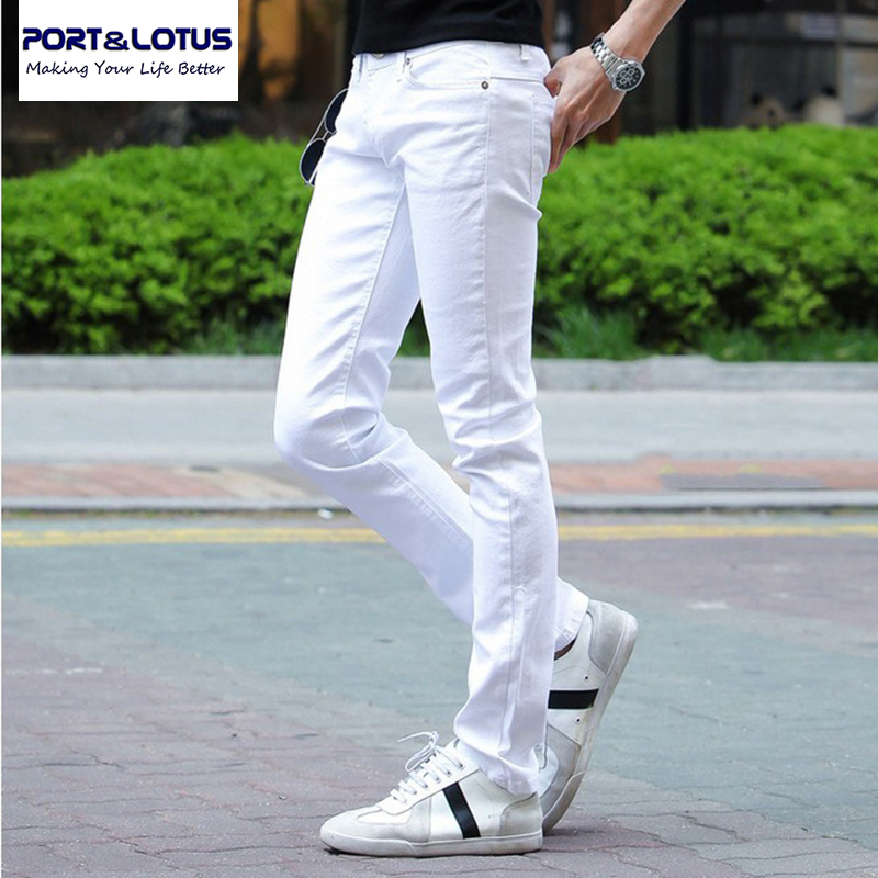 Port Lotus Fashion Casual font b Jeans b font New Arrival With Zipper Fly Solid White