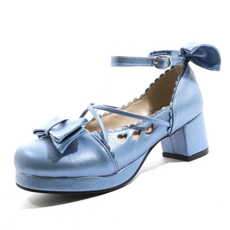 Big Size 30-48 Women Pumps Japanese Princess Lolita Shoes Sweet Bow Cross Straps High Heels Mary Janes COSPLAY Female Shoes Gold (24)