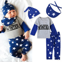 4pcs Newborn Baby Boys Clothing Set Cotton Baby Beanies Hat Burp Clothes Bib Scarves Top T