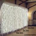 2x2 m/3x3 m/6x3 m conectável Ano Novo Guirlandas De Natal LEVOU seqüência de Luz De Natal Garden Party Decoração Do Casamento Cortina De Luz de fadas