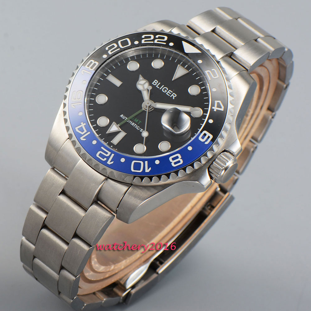 2019 New Hot Top Brand 43mm Bliger Black dial GMT ceramic bezel luminous marks Sapphire Crystal Automatic Mechanical Mens Watch