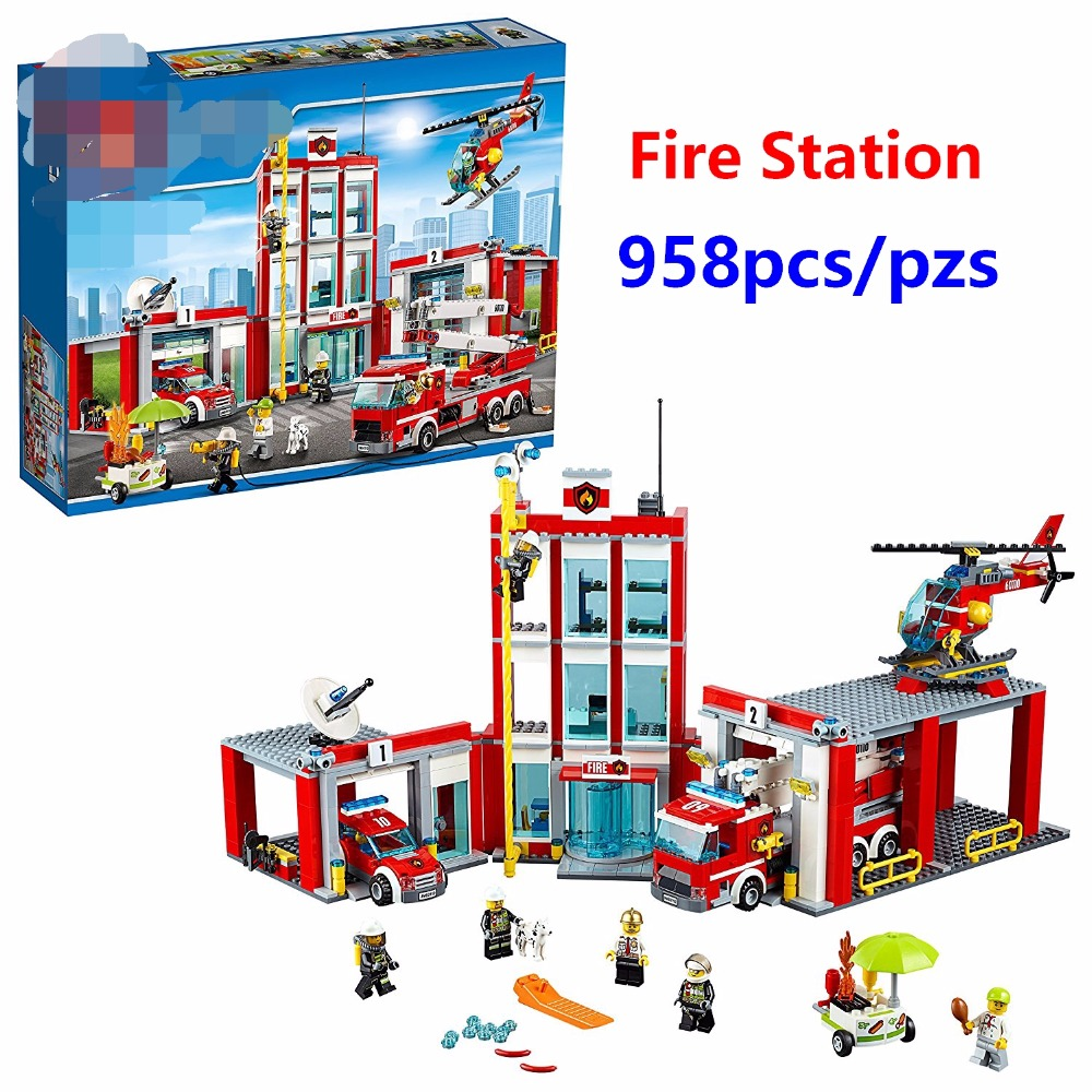 New City Fire Station Command Center Rescue Car Helicopter Building Blocks Toy For Children Compatible with <font><b>lego</b></font> <font><b>60110</b></font> Best Gift image