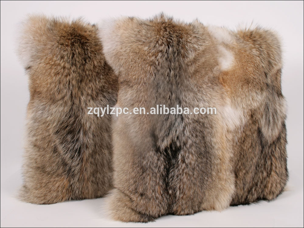 Handmade double side Coyote Fur throw pillow decorative real fur sofa cushion