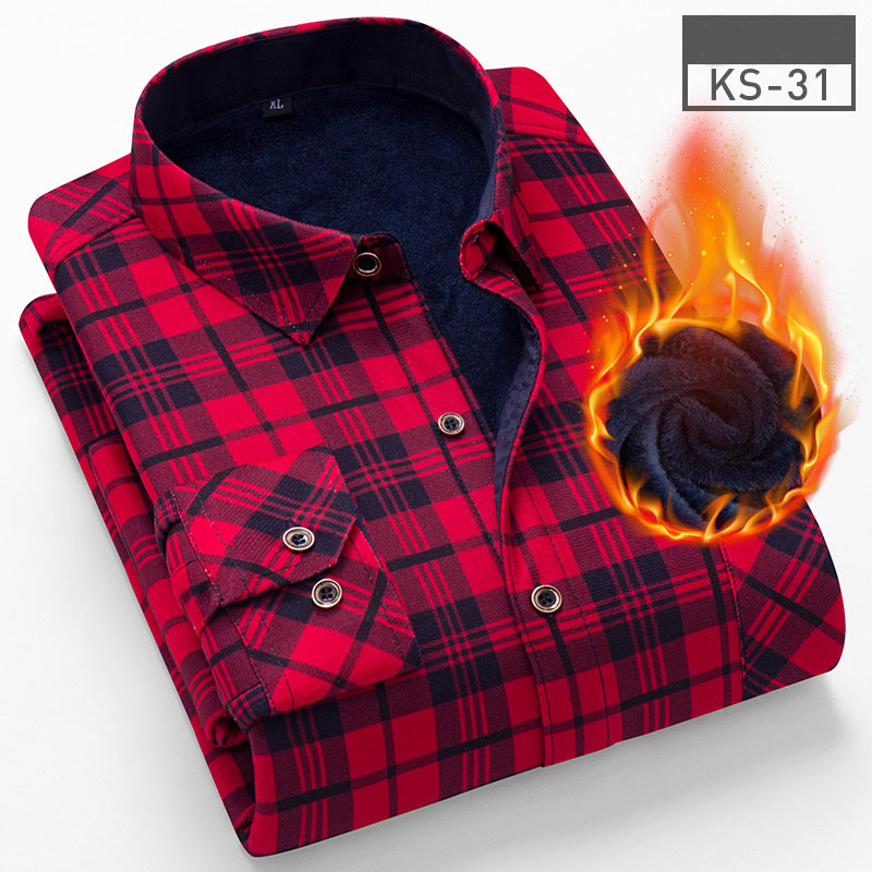 Image 4 - 2019 Fashion Men's Winter Warm Plush Slim Shirts 24 Colors Striped Plaid Print Blouse For Men Casual Retro Clothes Size M 5Xl