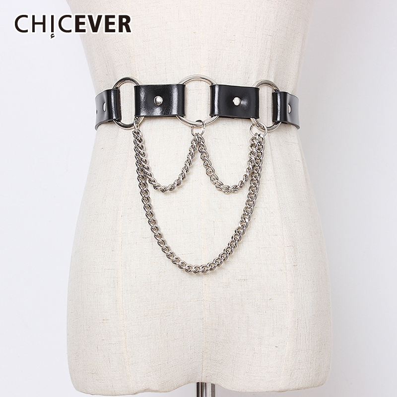 CHICEVER PU Chain Patchwork Belt For Women High Waist Vintage Dresses Accessories Belts Female Fashion New Tide 2020 Summer