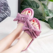1PR Glitter Pink Women Slippers Brand Designer Lady Bling Sandals Silk Butterfly-knot Bow Flat  Beach Slides Shoes