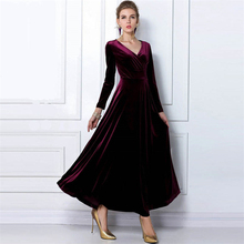 ZOGAA Women's Velvet Dress Spring Autumn Winter Long Sleeve Elegant Dresses For Woman Long V-neck Dress Party Wedding S-XXXL недорого