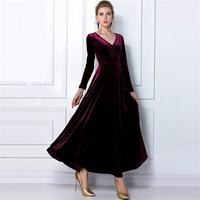 ZOGAA Women's Velvet Dress Spring Autumn Winter Long Sleeve Elegant Dresses For Woman Long V neck Dress Party Wedding S XXXL