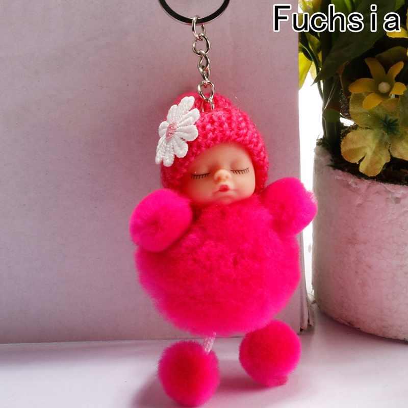 Новинка, брелок Спящая кукла, помпон, мех кролика, брелок для ключей, автомобильный брелок, Женский держатель, сумка, подвеска, очаровательный аксессуар, porte clef