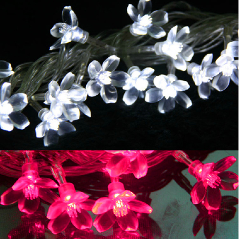 New 5M Fairy Cherry Garland LED Lights String Flower Lights Outdoor LED Christmas Lamps Lighting Holiday Party Wedding Luminaria