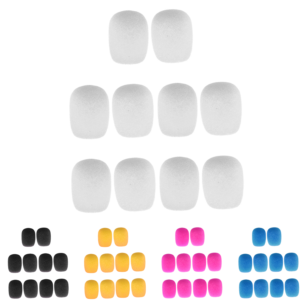 10 Pieces Clip-on Headset Microphone Sponge Windscreen Wind Muff Mic Accessory For Small Lapel And Headset Microphone