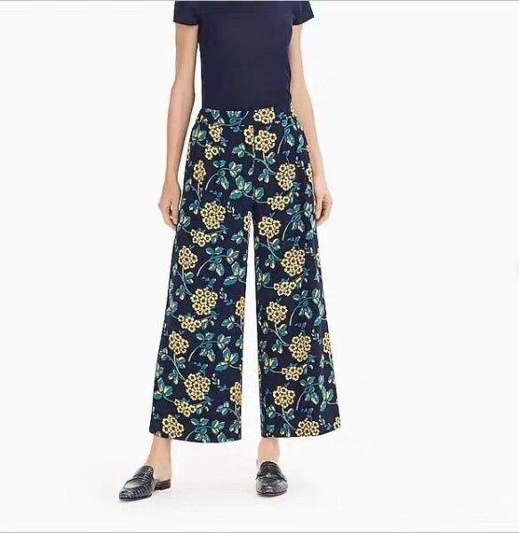 2019 Primavera Pantalones Semi Ancha La Retro Principios Pequeñas A Seda Las Mujeres Margaritas elásticos Pierna De qntWtwHfA