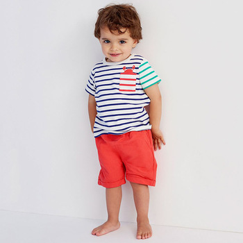 Summer simple cotton stripe boys clothing set factory price children outfits