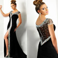 New Sexy Open Back High Slit Beaded Satin Black Mermaid Prom Dresses Gown 2016 Formal Evening Dresses Graduation Party Dresses