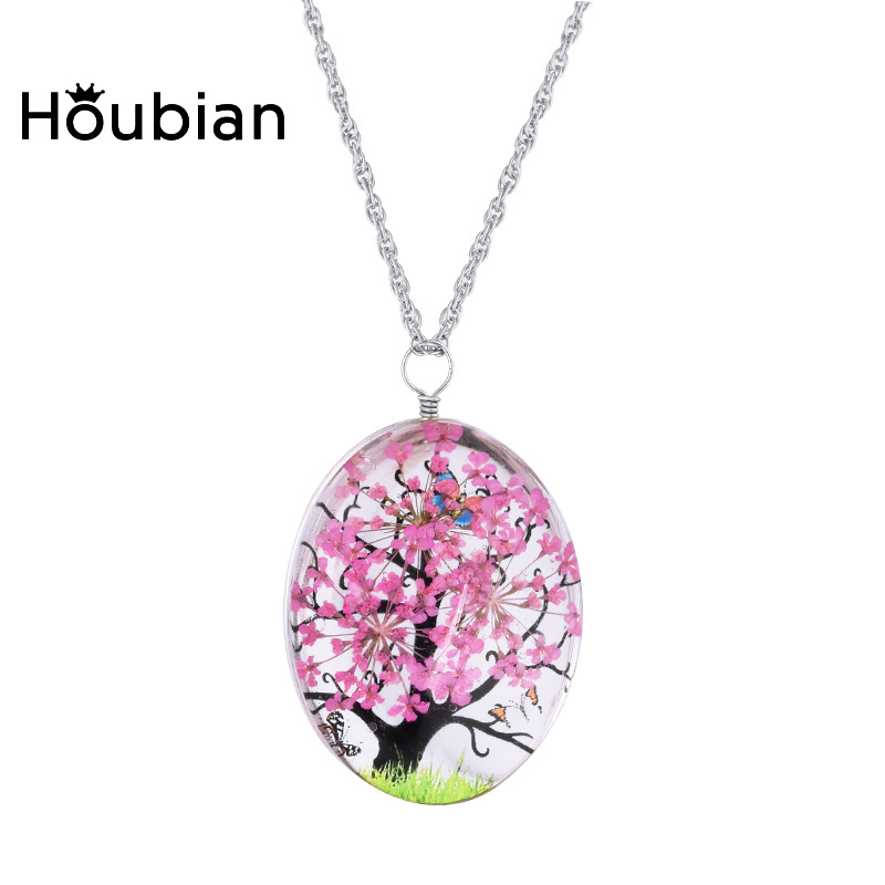 Houbian Glass Dry Flower Necklace