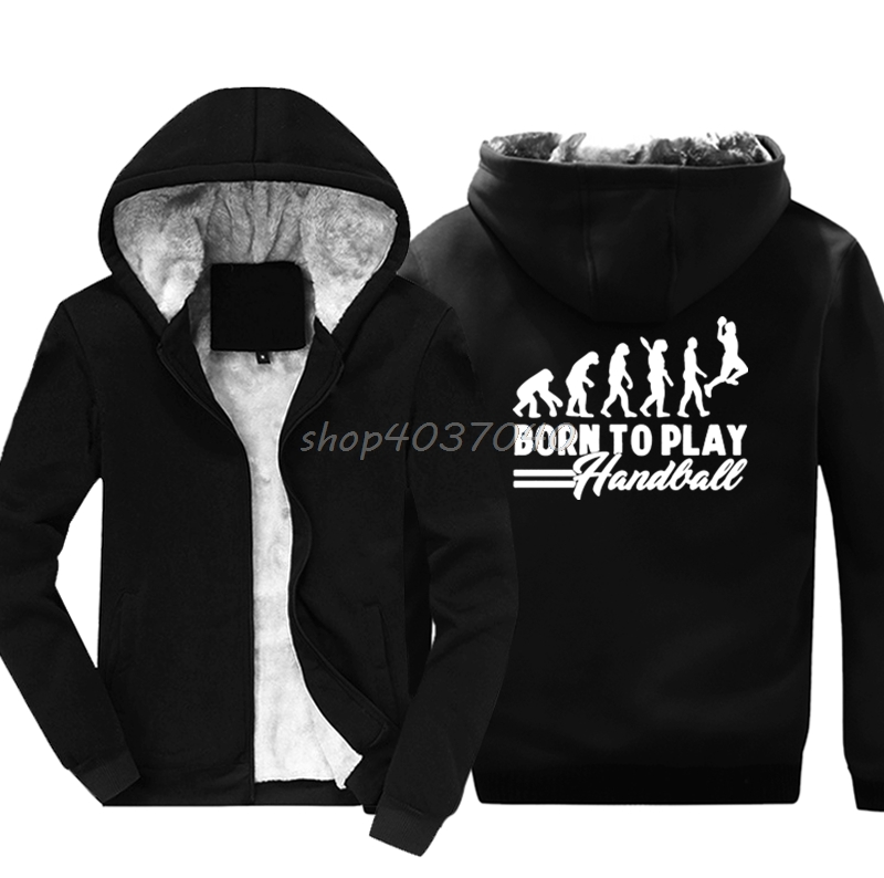 Funny Handball Evolution Born To Play Sweatshirt Men Cotton Keep Warm Hoodies Hip Hop Jackets Hoody Harajuku Streetwear
