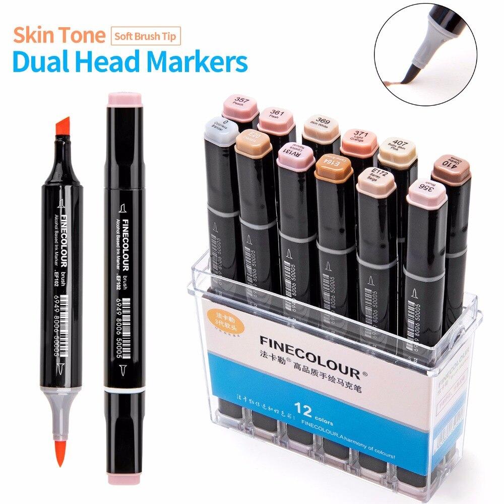 FINECOLOUR 12/24/36 colores piel tonos Soft Brush marcadores Set Alcohol Based Sketch marcador Manga profesional dibujo arte proveedor