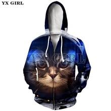 YX Girl Unisex Casual Pullover Zip Up Jacket Cute Cat 3D Print Hoodie for Women Men Zipper Hoodies Hooded Sweatshirt Outwear все цены