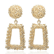 F14 Big Vintage Earrings for women gold color Geometric statement earring 2018 metal earing Hanging fashion jewelry trend