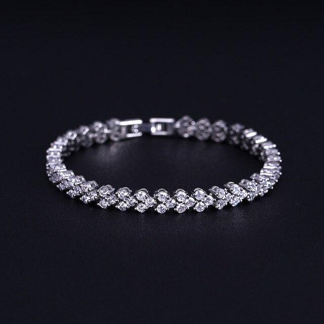 fc61e2b543d0 € 5.79 35% de DESCUENTO|Moda joyería nupcial AAA + cubic zirconia cristal  romano mujeres cadena pulsera y brazalete traje para la boda en ...