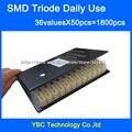 Uso diário 36valuesx50pc Transistor SMD Livro Da Amostra = 1800 pcs Assorted Kit S9012 Triode TL431 SS8050 SI2300 BAT54A BAV70 2N5551 etc
