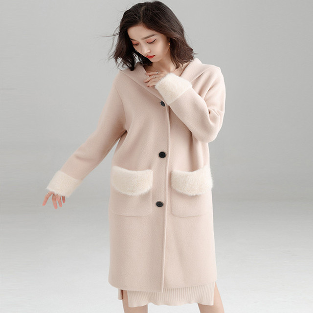Good Quality 2019 Spring Long Knitted Cardigan Loose Overcoat Water-proof Mink Double-sided Nipple Coat Women Woolen Overcoat