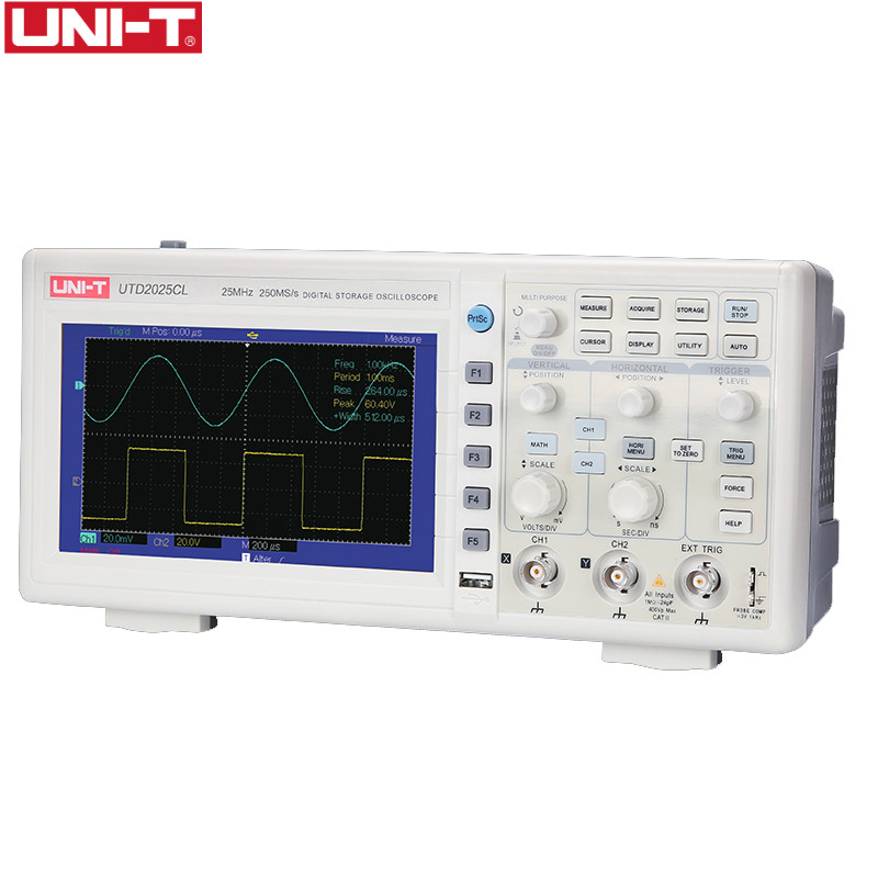 UNI-T UTD2025CL Digital Storage Oscilloscopes 2CH 25MHZ Scopemeter Scope meter 7 inches widescreen LCD displays осциллограф uni t utd2025cl r