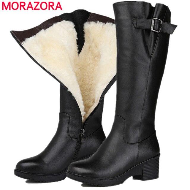MORAZORA 2018 top qualité genou haute bottes femmes en cuir véritable laine bottes  haute talons plate-forme chaussures d hiver garder au chaud neige bottes 877d1012e97e