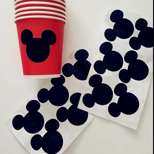 12pcs Mickey Mouse Sticker Vinyl Decals , Chalkboard Labels, envelope seal, Kids gift,s1