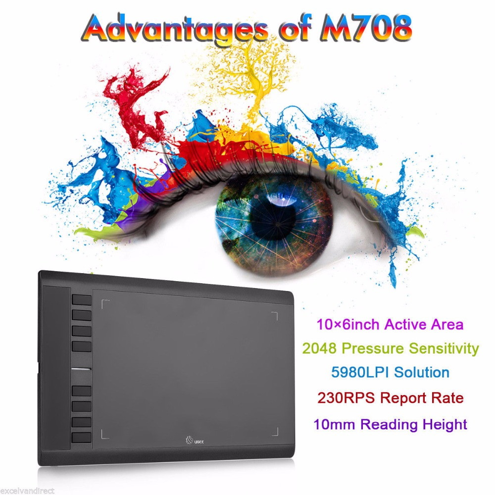 Ugee M708 Digital Tablet Graphics Drawing Tablet Pad With Pen 2048 Level Digital Pen Good As Huion H610 Pro title=