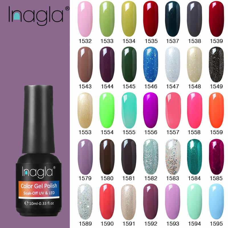Inagla Nail Gel Pure Color Red Green Gel Manicure Shiny Nail Polish Soak Off UV LED Gel Nail Polish Vernis Semi Permanent Gellak