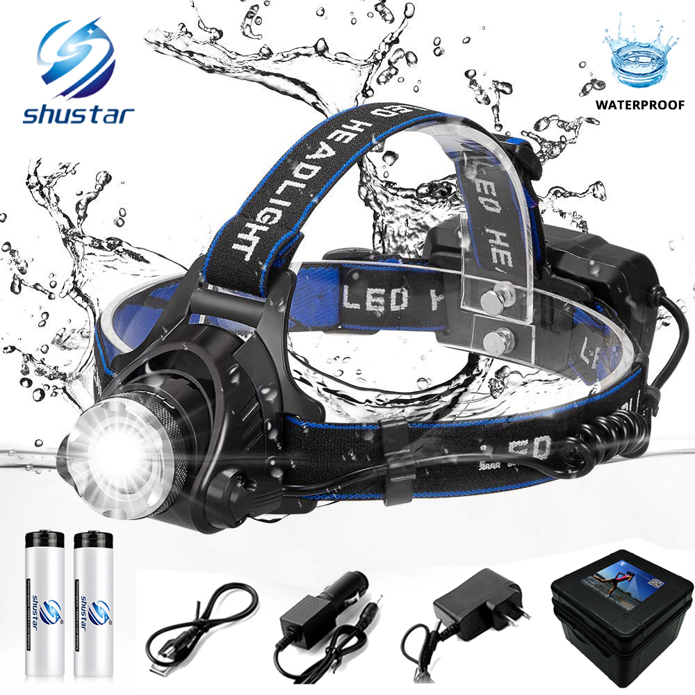 LED headlamp fishing headlight 6000 lumen CREE XM-L2 XML-T6 Zoomable lamp Waterproof Head Torch flashlight Head lamp use 18650 1pcs ok line 0 5mm 30awg wire wrapping wrap flexible insulation tin plated jumper cable 1000ft pcb flying jumper wire