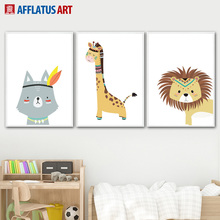 Cute Raccoon Lion Giraffe Wall Art Canvas Painting Nordic Posters And Prints Cartoon Animals Pictures For Kids Room Decor