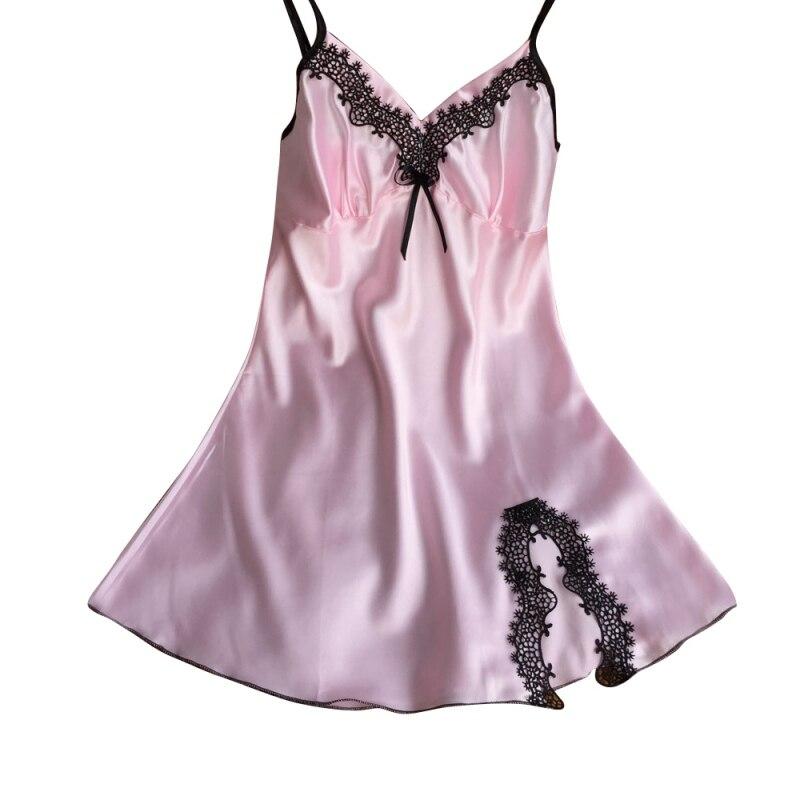 Women Sexy Lace Ladies Silk Satin Night Dress Sleeveless V-neck Nightgown Sleepwear Nightwear