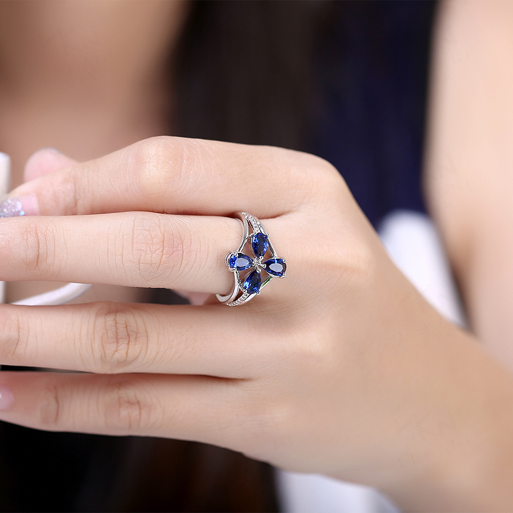 TANGKA 2017 new fashion luxury design female royal blue flower ...