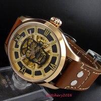 Neueste 45mm Parnis Hohl zifferblatt saphirglas Braun Leder Goldene Fall Luminous Marks Miyota Automatische Mechanische herren Uhr|Mechanische Uhren|Uhren -