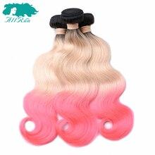 Allrun Hair Malaysian Body Wave Bundles 3/4 Bundles T1B/613/Pink Human Hair Extensions Remy Hair Weaving 10
