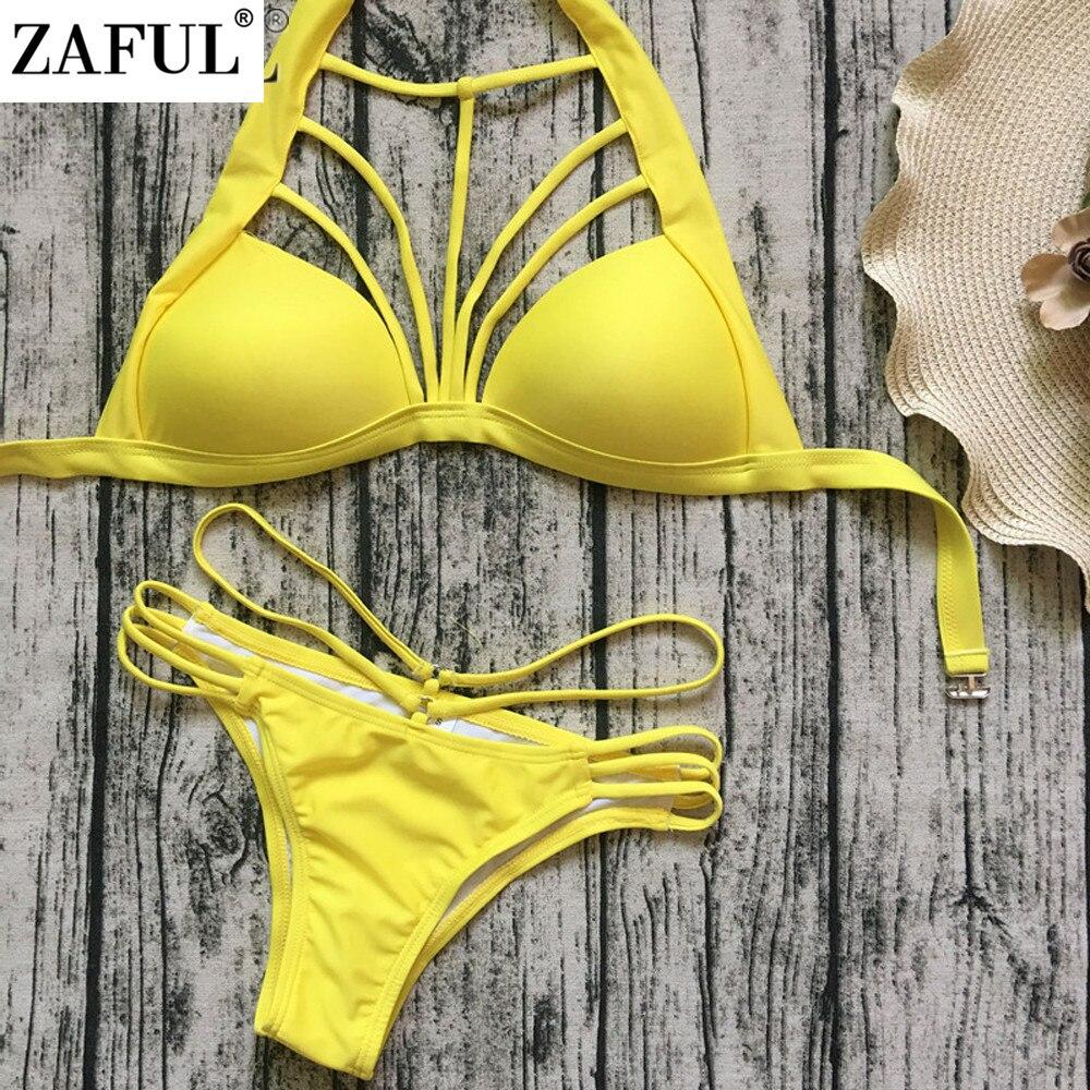 ZAFUL Female Sexy Halter High Neck Strappy Backless Padded Bikini Set Women Swimwear Brazilian Bathing Suit Swimsuit Biquinis