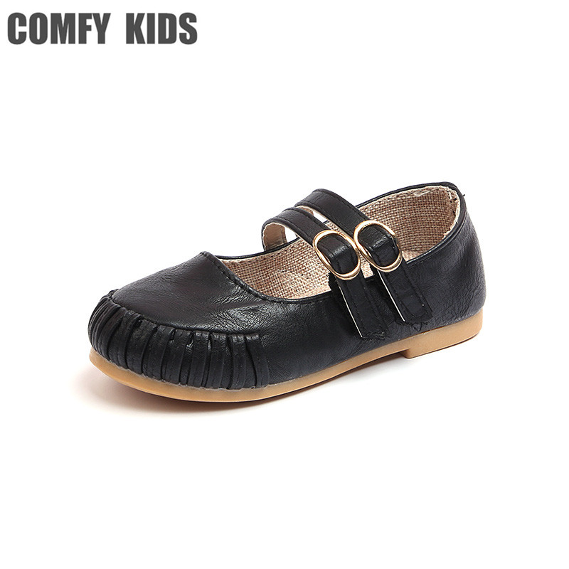 COMFY KIDS 2018 New Arrivals PU Leather Round Fashion Flats With Girls Shoes size 26-30 spring summe kids girls princess shoes