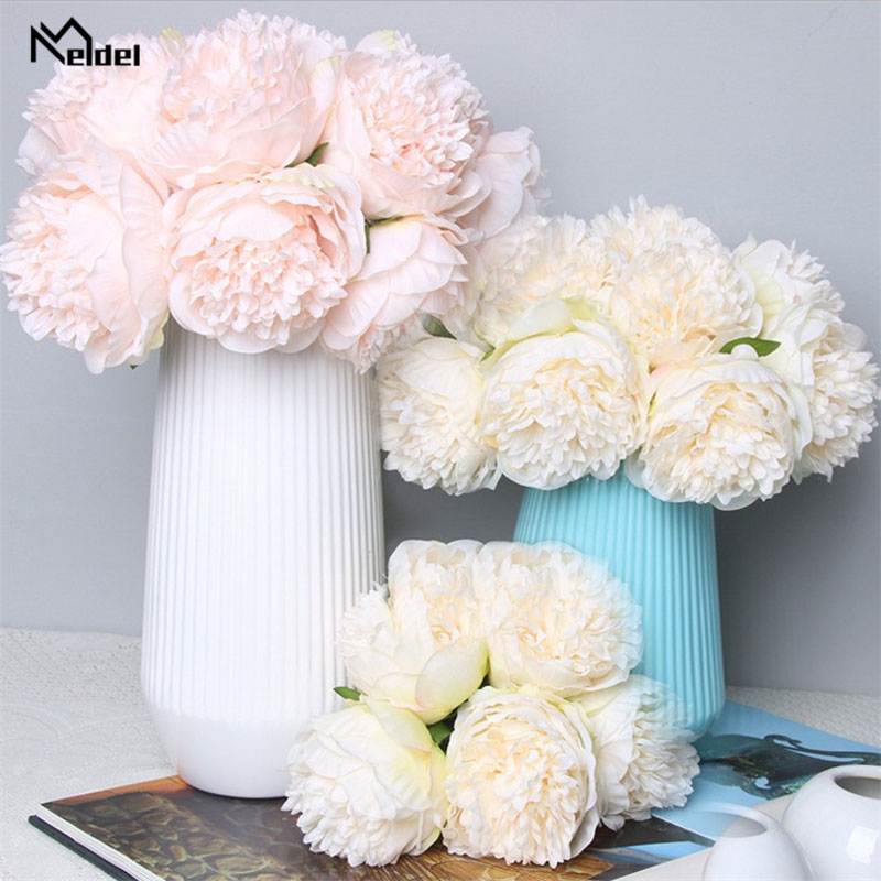 Meldel Bridal Wedding Bouquet Artificial 5 Heads Rose Peony Bouquet Bridesmaids Holder Flower DIY Home Decor Wedding Supplies
