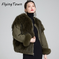 FlyingTown Double Sides Wear Women Short Parka With Real Fox Fur Black Blue Green Thick Warm