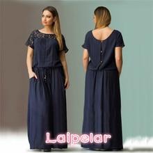 Laipelar Summer Short Sleeve Lace Dress Big Sizes New Women  Long Maxi Party Vintage Vestidos L-6XL