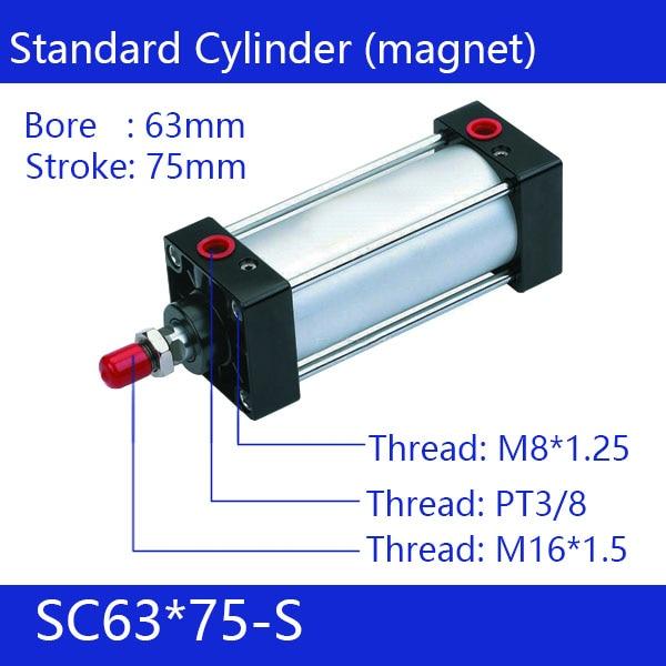 SC63*75-S 63mm Bore 75mm Stroke SC63X75-S SC Series Single Rod Standard Pneumatic Air Cylinder SC63-75-S цена 2016