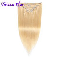 Fashion Plus Clip In Human Hair Extensions Machine Made Remy Straight Natural Hair Full Head 7pcs/Set 120g Human Hair Clips In