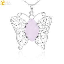 7135c6f8d712 CSJA nueva llegada lindo mariposa colgante y Collar de plata alas de Color  Piedra Natural Rosa