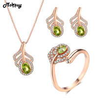 MoBuy Green Peridot Natural Gemstone 3pcs Jewelry Sets Romantic Feather Fine Jewelry 100% 925 Sterling Silver For Women V045ENR