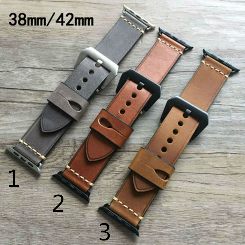 все цены на 38mm 42mm Apple watchband,Khaki Brown Chicago Calf Leather Watch Strap Belt For Iwatch Apple watch With Adapter Container онлайн